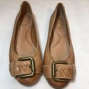 Fossil Tan Brown Buckle Ballet Flats Size 10
